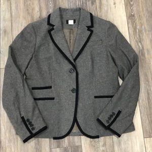Classic J.Crew Grey/Black Wool Blazer